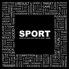 SPORT. Square frame with association terms.