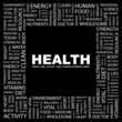 HEALTH. Square frame with association terms.