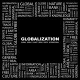 GLOBALIZATION. Square frame with association terms.