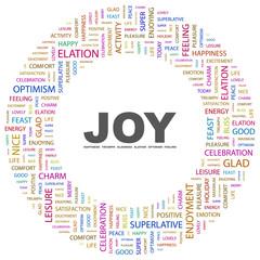 JOY. Circular frame with association terms.