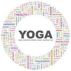 YOGA. Circular frame with association terms.