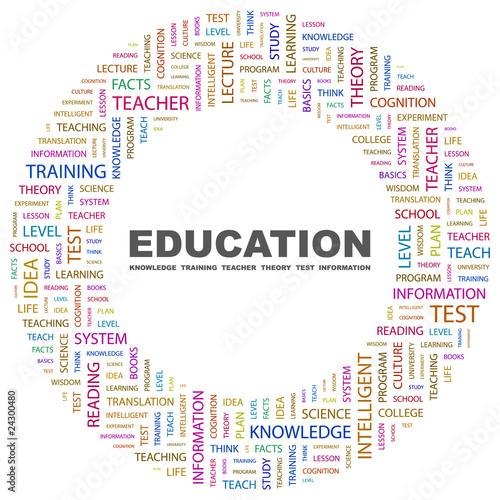EDUCATION. Circular frame with association terms.