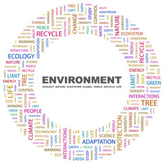 ENVIRONMENT. Word collage on white background.