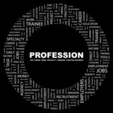 PROFESSION. Circular frame with association terms. poster