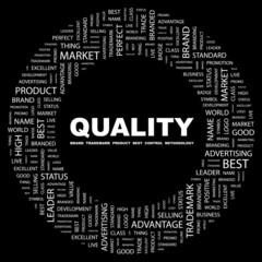 QUALITY. Circular frame with association terms.