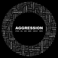 AGGRESSION. Circular frame with association terms.