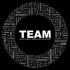 TEAM. Word collage on black background.