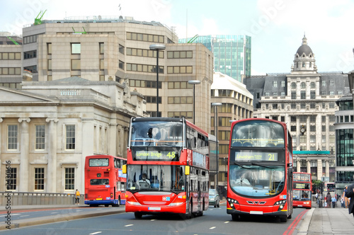 Deurstickers Londen rode bus London Busse