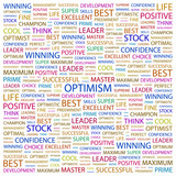 OPTIMISM. Wordcloud vector illustration.