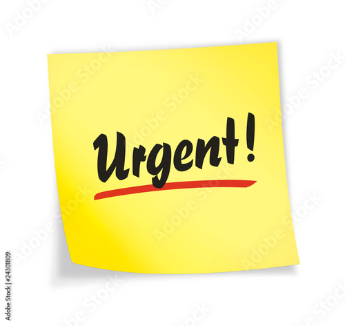 "Yellow sticky note ""urgent"""