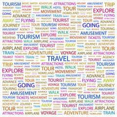 TRAVEL. Wordcloud vector illustration.