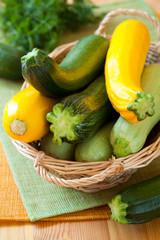 Yellow and green zucchini