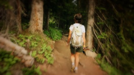 (1219) Mountains Forest Trail Woman Hiker Summer Trees