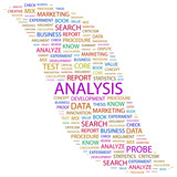 ANALYSIS. Collage with association terms on white background. poster