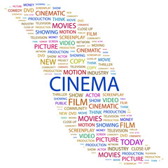 CINEMA. Collage with association terms on white background.