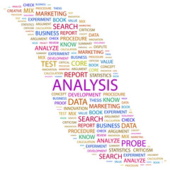 ANALYSIS. Collage with association terms on white background.