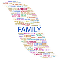 FAMILY. Wordcloud vector illustration.