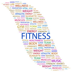 FITNESS. Collage with association terms on white background.