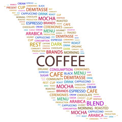 COFFEE. Collage with association terms on white background.