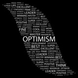 OPTIMISM. Word collage on black background.