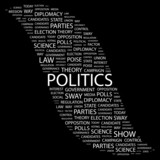 POLITICS. Collage with association terms on black background. poster