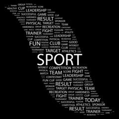 SPORT. Collage with association terms on black background.