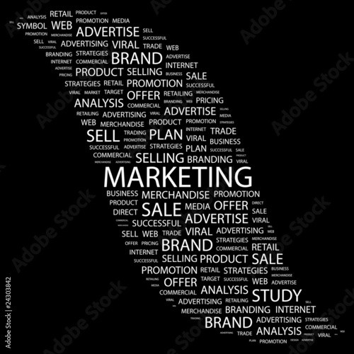 MARKETING. Word collage on black background.