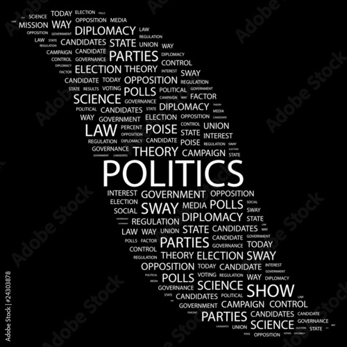 POLITICS. Collage with association terms on black background.