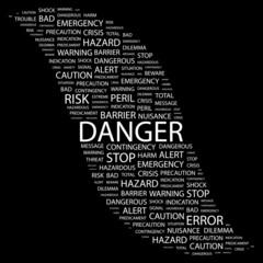 DANGER. Wordcloud illustration.