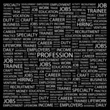 PROFESSION. Collage with association terms on black background. poster