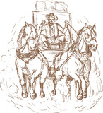 Cowboy stagecoach driver and horses front view poster