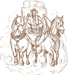 Cowboy stagecoach driver and horses front view