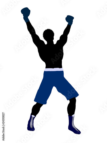 African American Male Boxer Illustration Silhouette