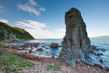 Russian, Primorye, Boulder on sea coast