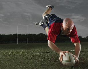Rugby Player scoring a Try!