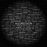 AGGRESSION. Illustration with different association terms. poster