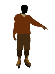 African American Male Hockey Player Illustration Silhouette
