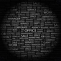OFFICE. Wordcloud illustration.