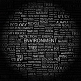 ENVIRONMENT. Word collage on black background. poster
