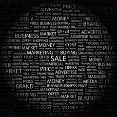 SALE. Collage with association terms on black background.