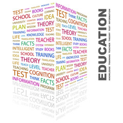 EDUCATION. Word collage on white background.