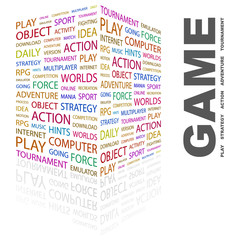 GAME. Word collage on white background.