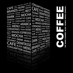 COFFEE. Illustration with different association terms.