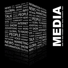 MEDIA. Illustration with different association terms.