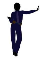 Female Police Officer Art Illustration Silhouette