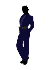 African American Female Police Officer Art Silhouette
