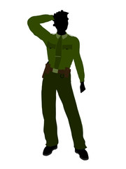 African American Female Sheriff Art Illustration Silhouette
