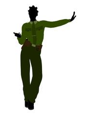 African American Female Sheriff Art Illustration Silhouette
