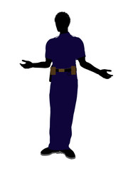 African American Male Police Officer Art Illustration Silhouette