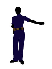 Male Police Officer Art Illustration Silhouette
